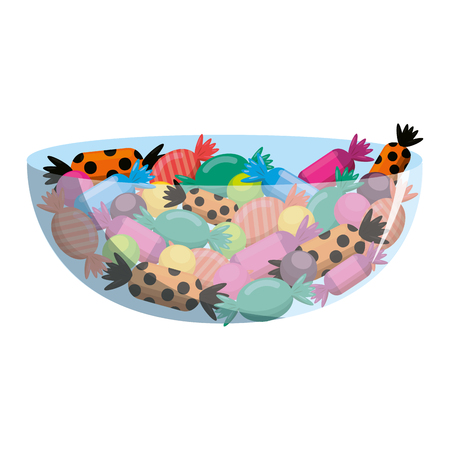 süße Bonbons in Schüssel Vektor-Illustration Design gesetzt