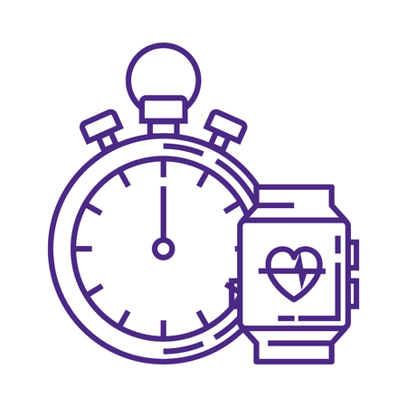 chronometer timer with smartwatch vector illustration design