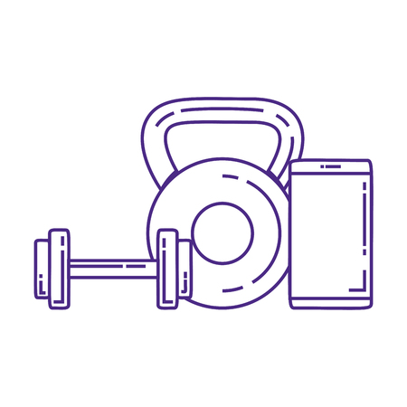 weight lifting dumbbells with smartphone vector illustration design