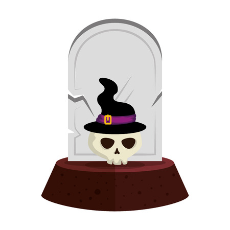 halloween gravestone with skull and witch hat vector illustration design Ilustração