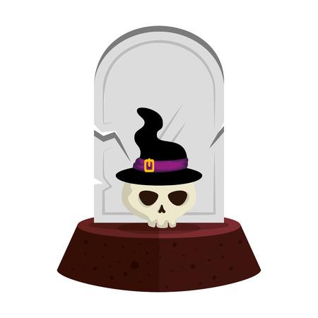 lapide di Halloween con il disegno dell'illustrazione di vettore del cappello della strega e del cranio