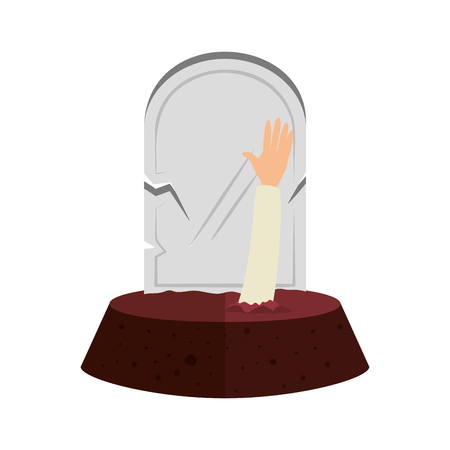 halloween gravestone with sombie hand vector illustration design