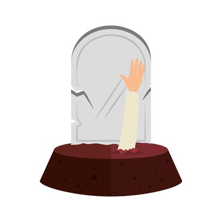 Lápida de Halloween con diseño de ilustración de vector de mano sombie