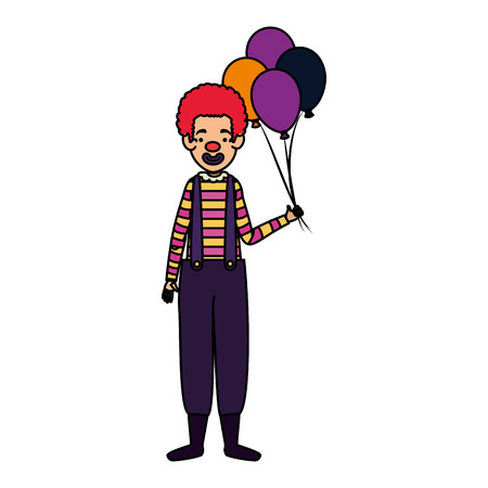 clown halloween costume with balloons helium vector illustration design