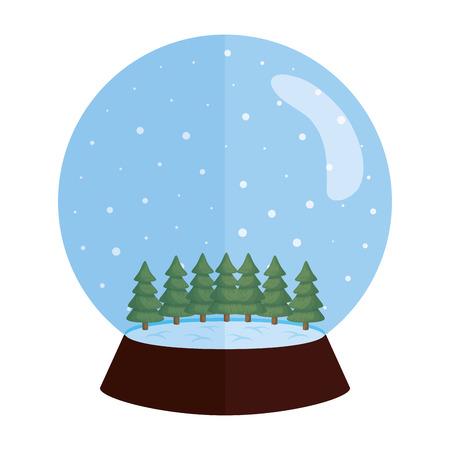 Noël sphère de neige avec des pins vector illustration design