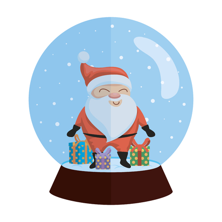 snow sphere christmas with santa and gifts vector illustration design