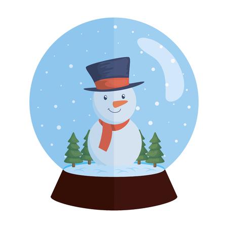 snow sphere christmas with snowman vector illustration design Illustration