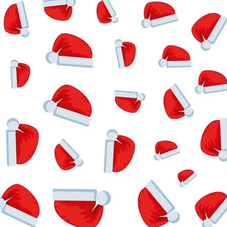 merry christmas hats pattern vector illustration design