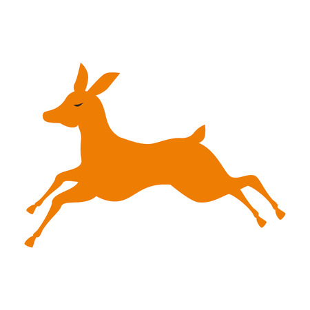 cute reindeer christmas silhouette vector illustration design