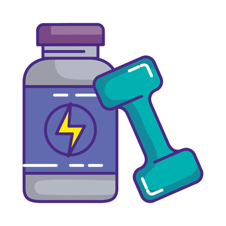 protein bottle with dumbbell vector illustration design Illustration