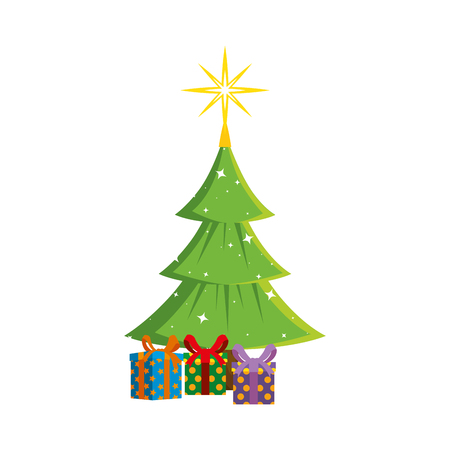 merry christmas tree with gifts vector illustration design