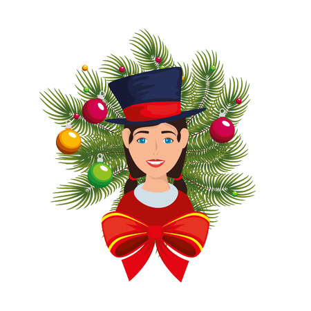 young woman with christmas elegant hat and crown vector illustration Illustration