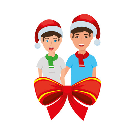 young couple with christmas decoration vector illustration design