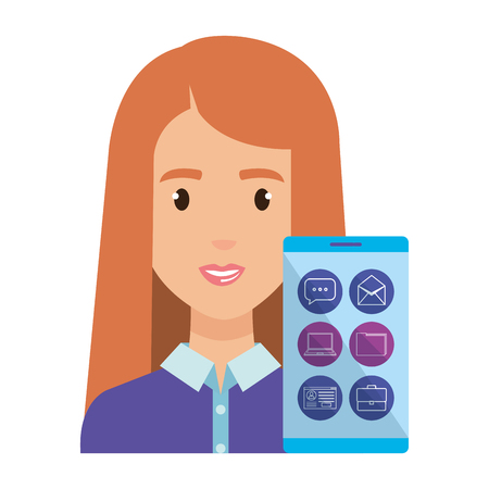 young woman with smartphone and social media vector illustration