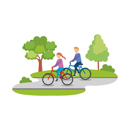 couple ridding bicycles characters vector illustration design Stock Illustratie