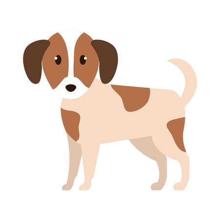 cute little dog character vector illustration design