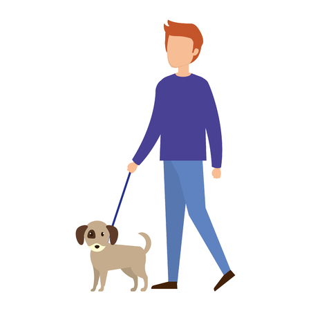 man with dog character vector illustration design
