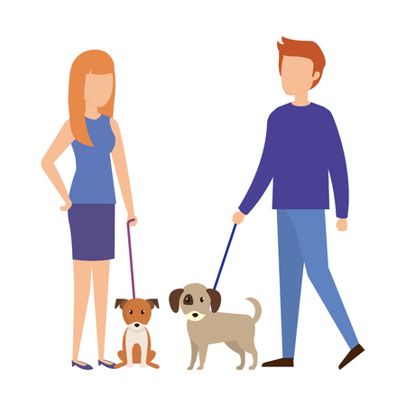 couple with dog characters vector illustration design