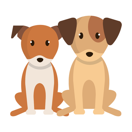 cute little dogs characters vector illustration design