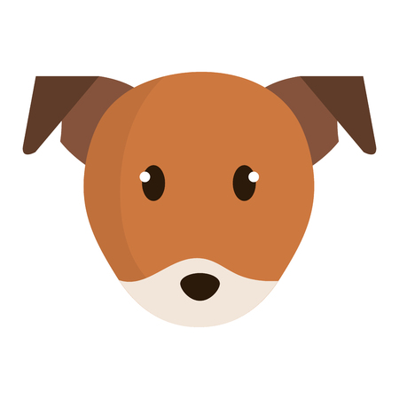 cute little dog head character vector illustration design