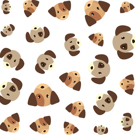 cute little dogs heads pattern vector illustration design