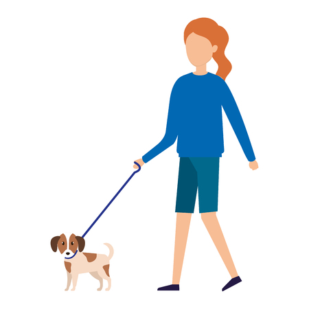 woman with dog character vector illustration design
