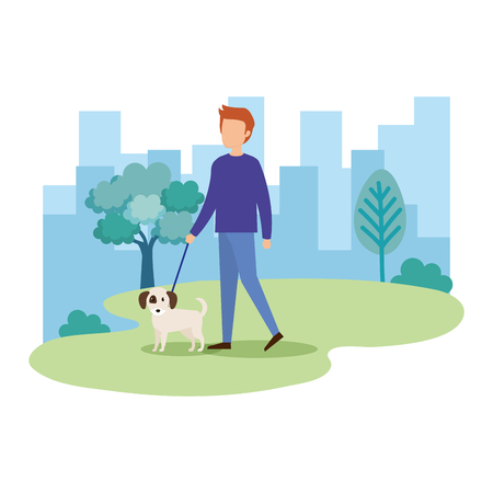 young man with dog in the park vector illustration design