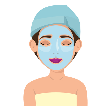 beautiful woman in treatment facial vector illustration design