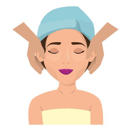 Bella mujer en tratamiento facial, diseño de ilustraciones vectoriales
