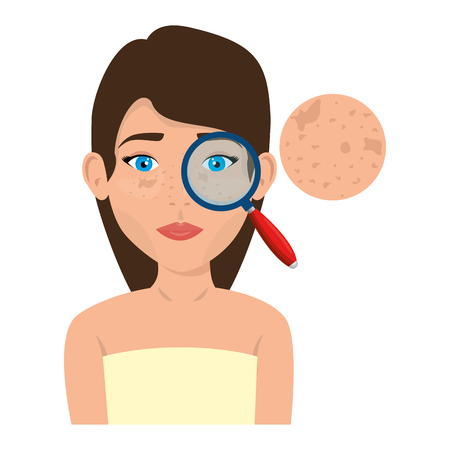 woman in towel with freckles and magnifying vector illustration design