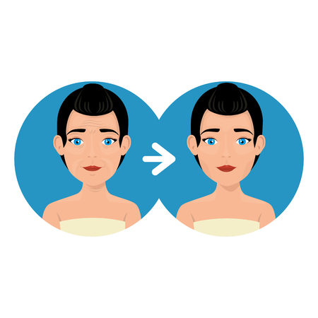 woman before and after skin treatment vector illustration design