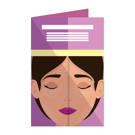 postcard with woman before and after skin treatment vector illustration Stock Vector - 109895621