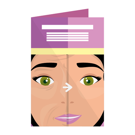 postcard with woman before and after skin treatment vector illustration Illustration