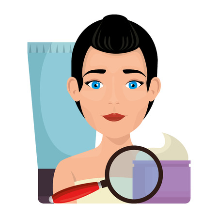 woman in towel with facial treatment products vector illustration design Banque d'images - 109895587