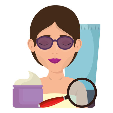 woman in towel with glasses facial treatment vector illustration design Illustration