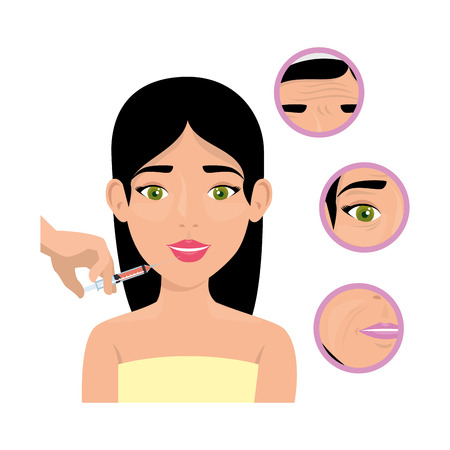 woman in towel injecting  vector illustration design