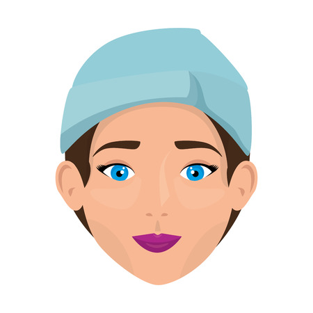 woman in towel treatment character vector illustration design