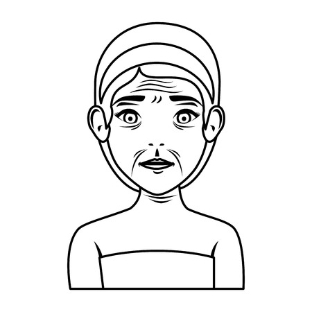 old woman in towel treatment character vector illustration design