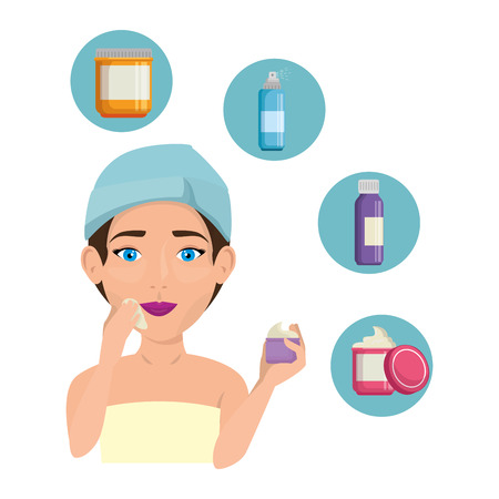 woman in towel with facial treatment icons vector illustration design