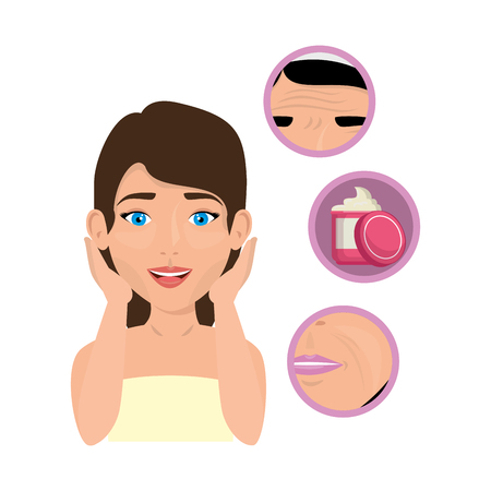 woman in towel with facial treatment icons vector illustration design Stock Illustratie