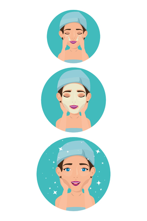 card with women in towel facial treatment vector illustration design Ilustração