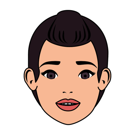 beautiful woman face character vector illustration design