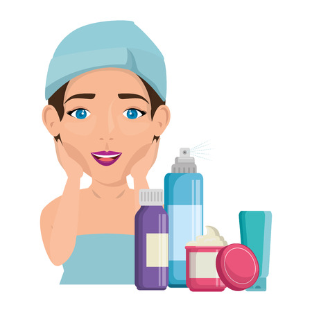 woman in towel with facial treatment products vector illustration design