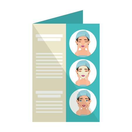 card with women in towel facial treatment vector illustration design Illusztráció
