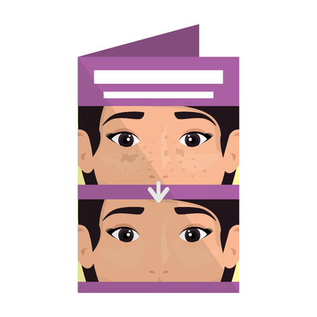 postcard with woman before and after skin treatment vector illustration 일러스트