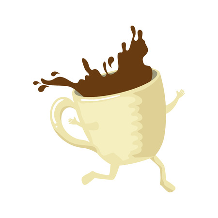 delicious coffee cup running  character vector illustration design Çizim