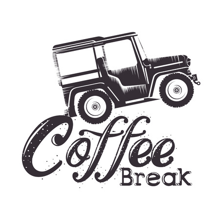 coffee break label with car vector illustration design