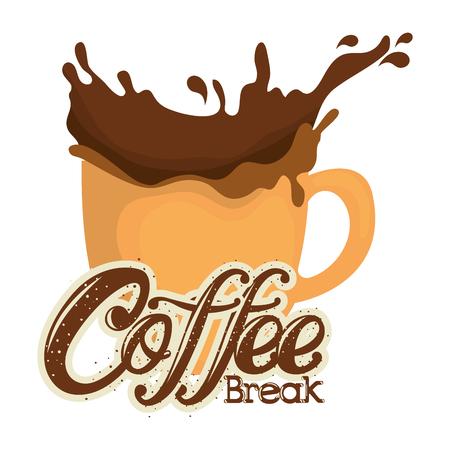 delicious coffee break label with splash vector illustration design Illustration