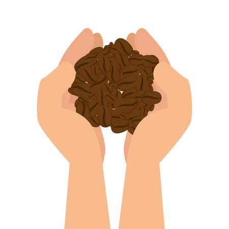 hands with coffee grains vector illustration design