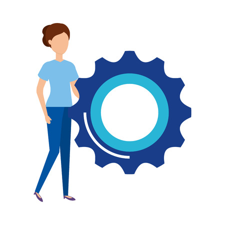 woman with gear machinery vector illustration design